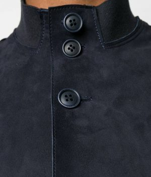 Mens Navy Blue Slimfit Mandiran Collar Leather Jacket