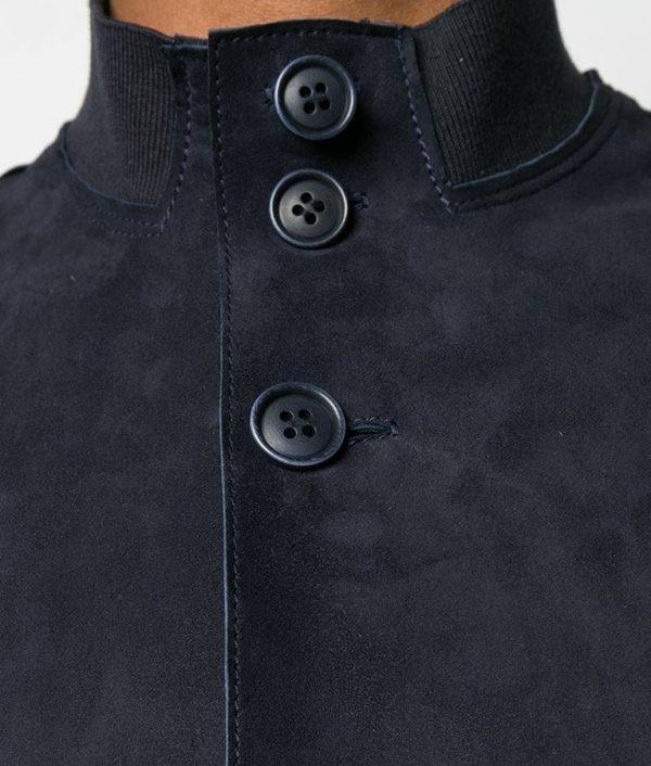 Mens Navy Blue Slimfit Mandiran Collar Leather Jacket