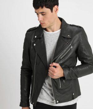 Mark Mens Lapel Collar Slimfit Black Leather Jacket
