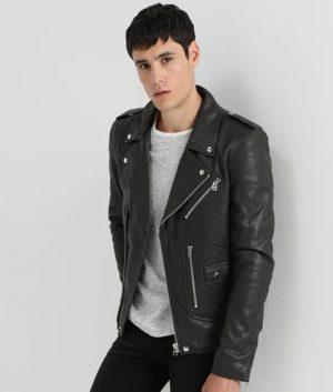 Mark Mens Lapel Collar Slimfit Casual Black Leather Jacket