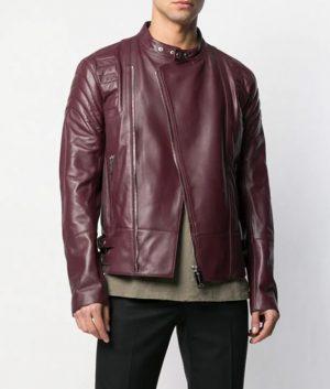 Marx Mens Slimfit Collarless Biker Burgundy Jacket