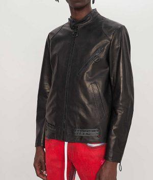 McBride Mens Printed Arrow Motorcycle Leather Jacket