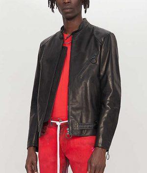 McBride Mens Printed Arrow Black Leather Jacket