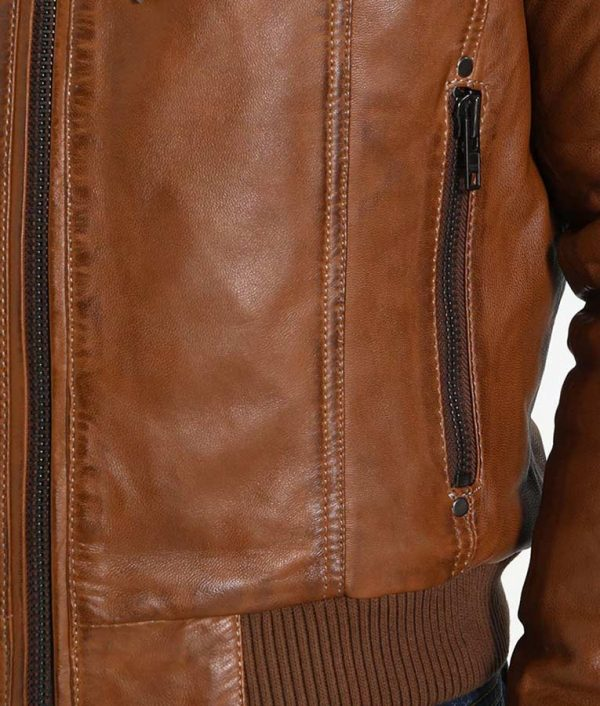 McCullough Mens Hooded Casual Brown Leather Jacket