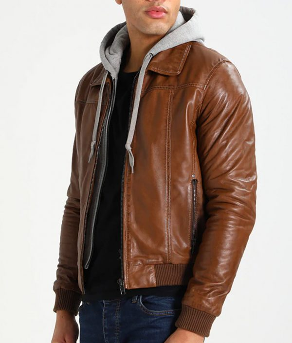McCullough Mens Hooded Bomber Leather Jacket