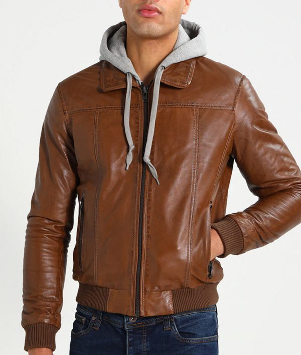 McCullough Mens Hooded Brown Bomber Leather Jacket