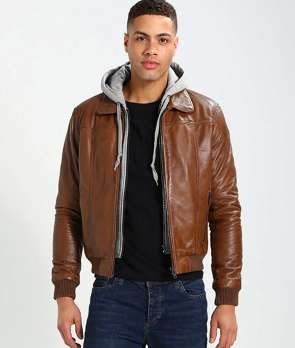 McCullough Mens Hooded Casual Bomber Leather Jacket