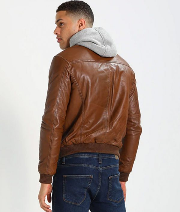 McCullough Mens Hooded Casual Brown Bomber Leather Jacket