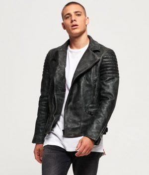 McKinney Mens Black Biker Leather Jacket