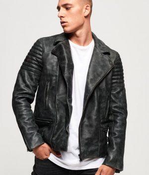 McKinney Mens Padded Shoulders Black Biker Jacket