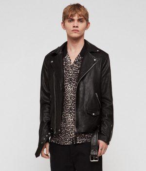 Mendez Mens Press Stud Lapels Slimfit Leather Jacket