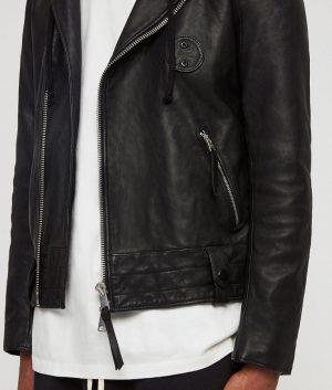Mendoza Mens Asymmetric zip Black Biker Style Leather Jacket