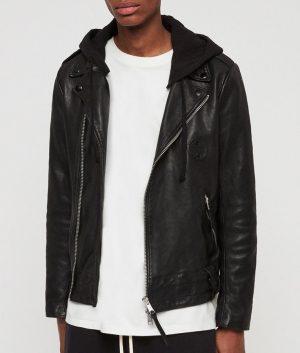 Mendoza Mens Asymmetric zip Casual Biker Style Leather Jacket