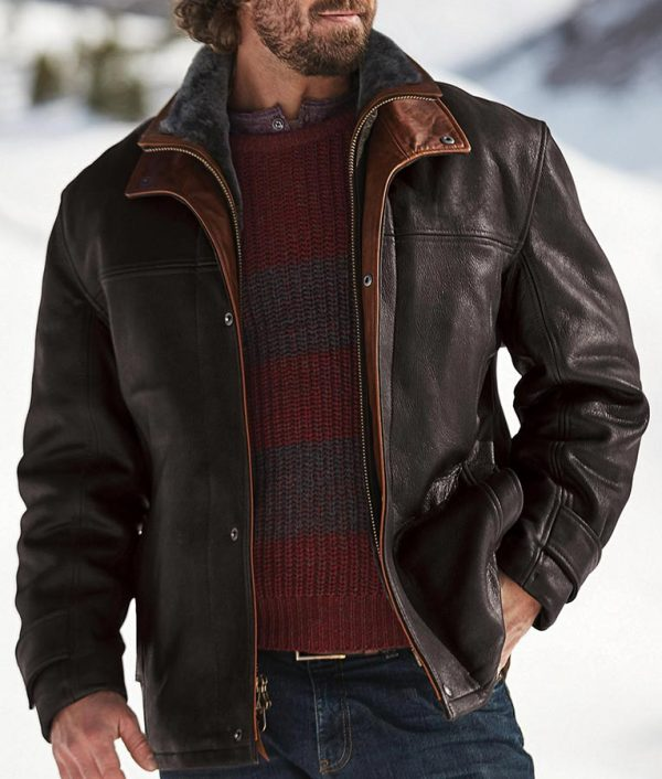 Jack Mens Leather Coat with Shearling Lining
