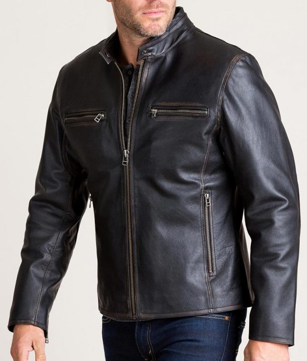 Cavazos Mens Black Retro Motocross Leather Jacket
