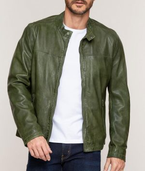 Jon Mens Casual Green Lambskin Leather Moto Jacket
