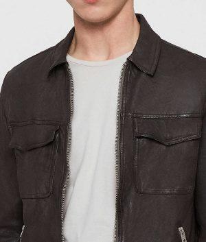 Holub Mens Charcoal Grey Slimfit Casual Style Leather Jacket