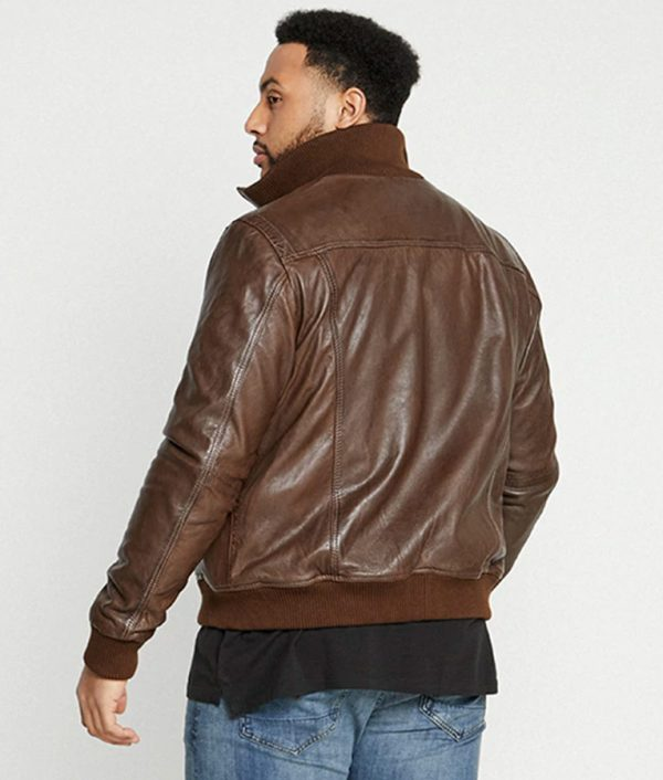 Hobson Mens High Collar Brown Leather Jacket