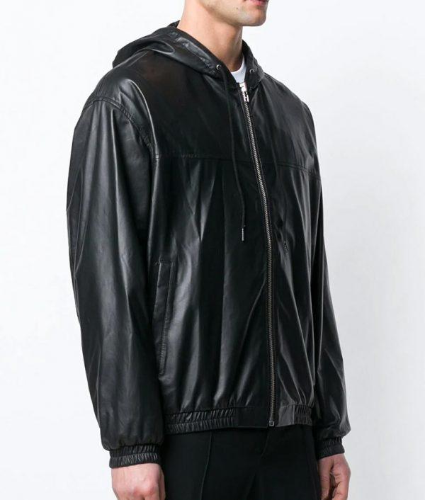 Jeffrey Mens Hooded Collar Slimfit Black Bomber Leather Jacket