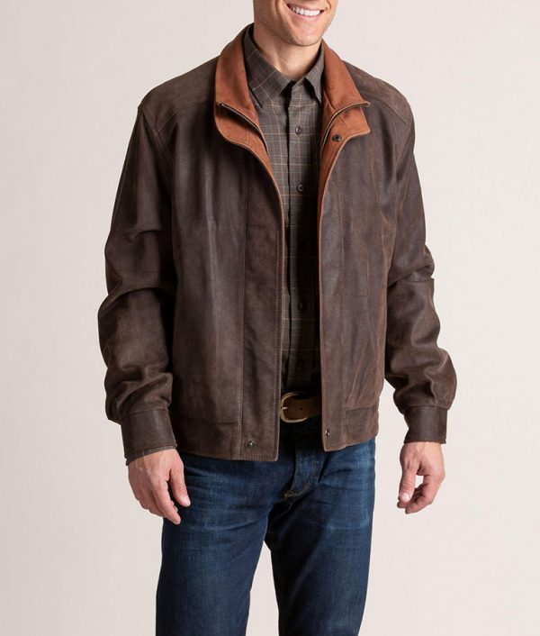Genaro Mens Leather Brown Bomber Jacket