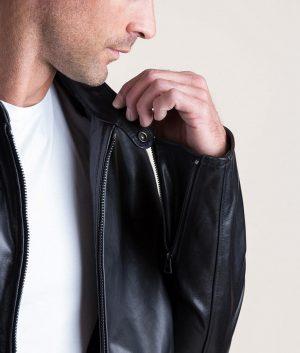 Walter Mens Italian Leather Moto Cafe Racer Jacket