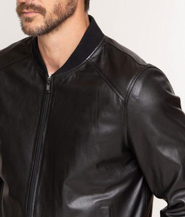 Abramson Mens Leather Cafe Racer Baseball Black Jacket
