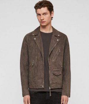 Mens Lapel Collar Leather Biker Style Jacket