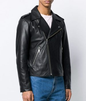 Mens Lapell Collar Casual Style Black Motor Biker Leather Jacket