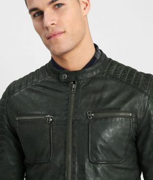 Tanner Mens Mandarin Collar Casual Military Green Leather Jaceket