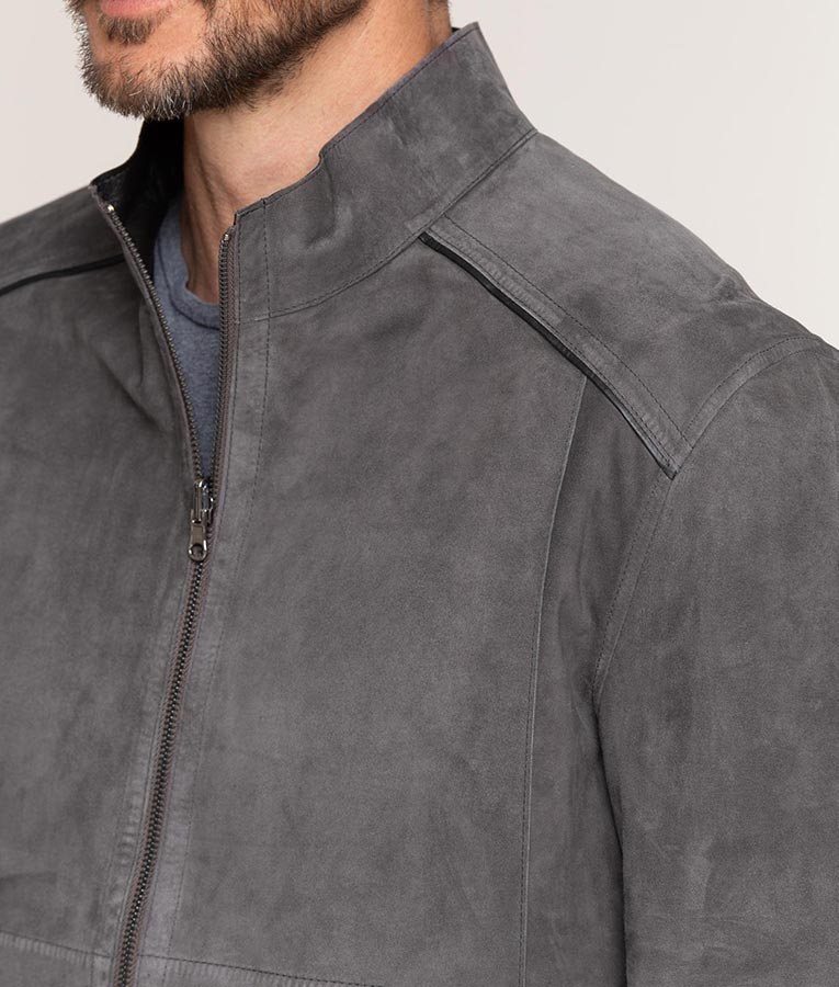 Frank Mens Mandarin Collar Slimfit Grey Cafe Racer Leather