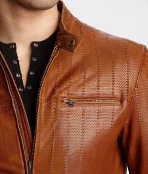 Kenneth Mens Mandiran Collar Lined Brown Cafe Racer Leather Jacket