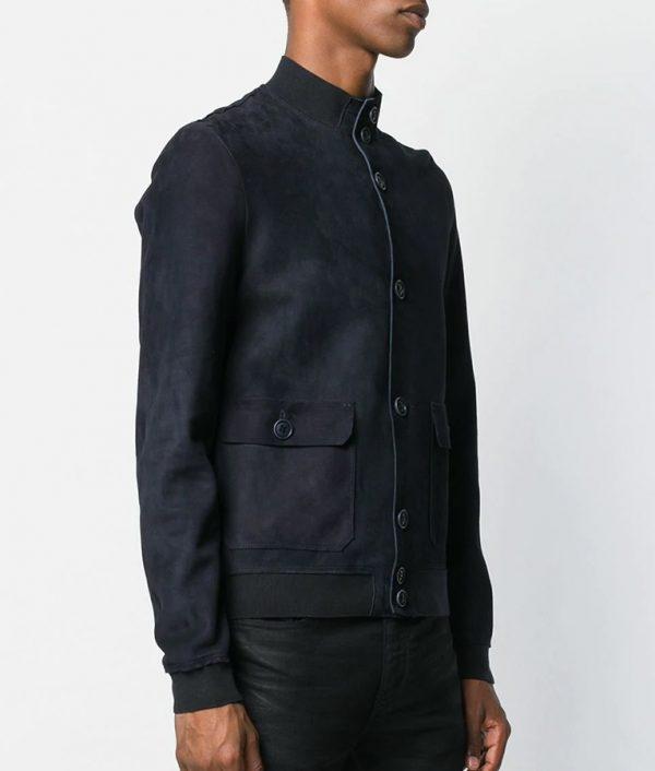 Marcus Mens Navy Blue Slimfit Leather Jacket