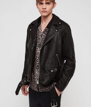 Mendez Mens Slimfit Black Leather Jacket