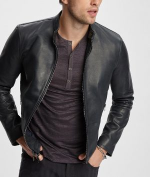 Flemming Mens Slimfit Style Black Leather Jacket