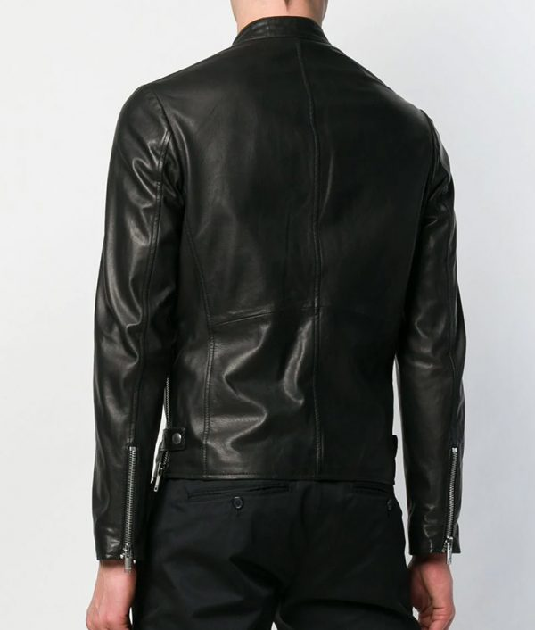 Baggett Men Casual Black Cafe Racer Leather Jacket