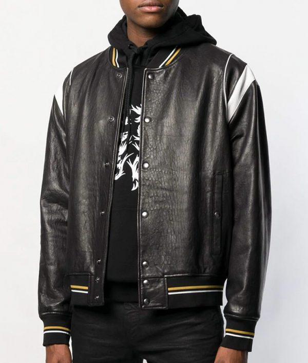 David Mens Casual Letterman Style Black Bomber Leather Jacket