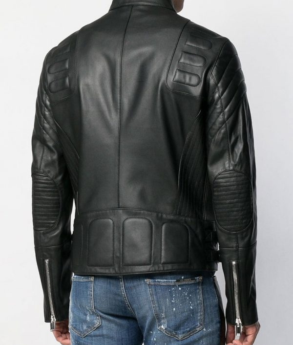 Antione Mens Slimfit Casual Style Black Mandiran Collar Leather Jacket