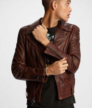 Henderson Mens Snap Down Collar Slimfit Brown Leather Jacket