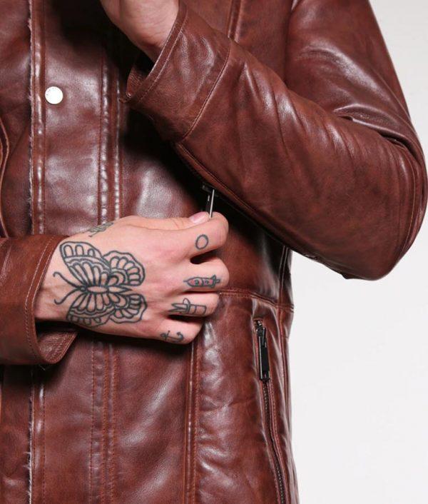 Richard Mens Turn Down Collar Dark Cognac Leather Jacket