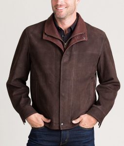Kenneth Mens Turn Down Collar Italian Calfskin Leather Jacket