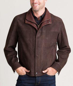 Kenneth Mens Turn Down Collar Italian Calfskin Leather Jacket