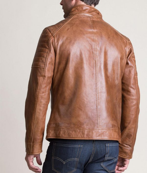 Sargent Mens Waxed Lambskin Leather Moto Jacket