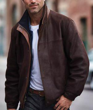 Michael Mens Dark Brown Slimfit Casual Style Leather Jacket