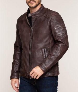 Moore Mens Mandarin Collar Cafe Racer Leather Jacket
