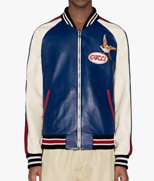 Nelson Mens Embroidered Bird Blue And White Bomber Leather Jacket