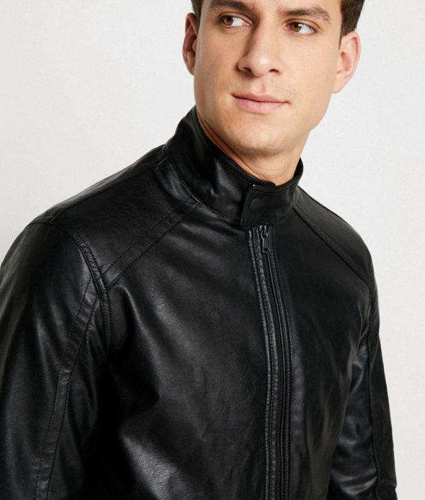 Paul Mens Slimfit Casual Black Leather Jacket