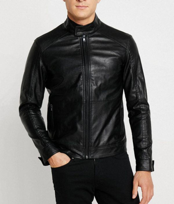 Paul Mens Casual Black Leather Jacket