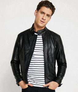 Paul Mens Mandarin Collar Slimfit Casual Black Leather Jacket