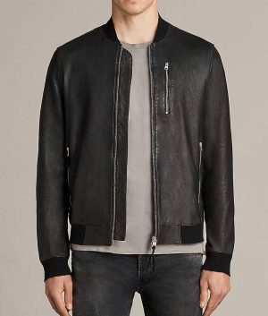 Pearson Mens Slimift Atlantic Grey Cafe Racer Leather Jacket