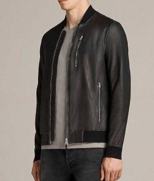 Mens Slimift Atlantic Grey Cafe Racer Bomber Leather Jacket
